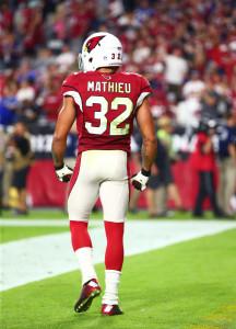 Oct 26, 2015; Glendale, AZ, USA; Arizona Cardinals safety Tyrann Mathieu (32) against the Baltimore Ravens at University of Phoenix Stadium. Mandatory Credit: Mark J. Rebilas-USA TODAY Sports