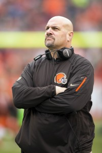 Dec 13, 2015; Cleveland, OH, USA; Cleveland Browns head coach Mike Pettine watches the video board during players introductions against the San Francisco 49ers at FirstEnergy Stadium. The Browns defeated the 49ers 24-10. Mandatory Credit: Scott R. Galvin-USA TODAY Sports