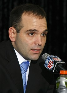 Jan 18, 2013; Jacksonville FL, USA; Jacksonville Jaguars new general manager Dave Caldwell speaks at a press conference at EverBank Field. Mandatory Credit: Phil Sears-USA TODAY Sports